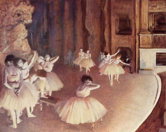 """Prove di balletto in scena"". Edgar Degas, 1874, olio su tela. Musée d'Orsay, Parigi."