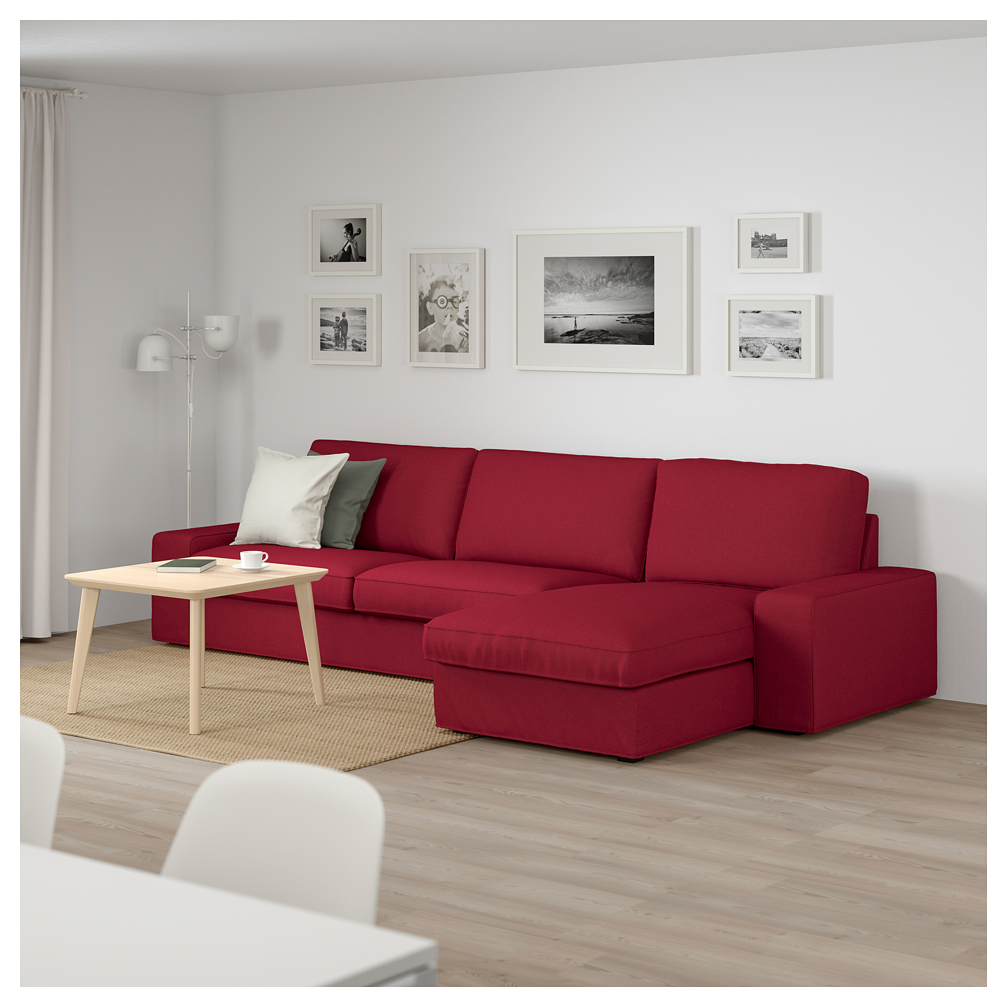 KIVIK Sectional, 4-seat - with chaise, Orrsta red ...