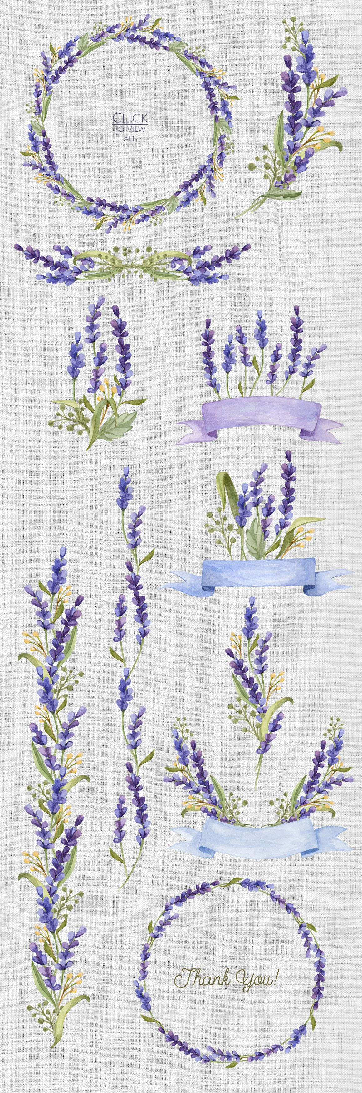 Watercolor set with Lavender Flowers by NataliVA on Creative Market