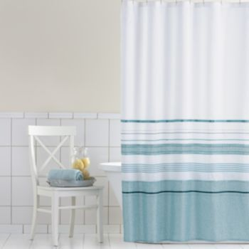Home Classics Shimmer Blue Fabric Shower Curtain Fabric Shower