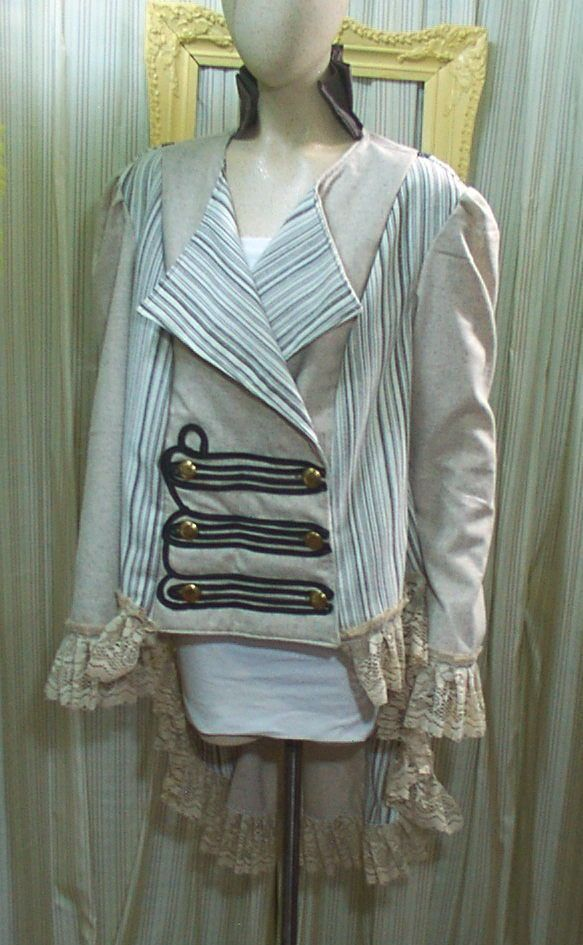 4781 Beige striped Ringmaster Pirate Steampunk tailcoat corset coat Jacket XL #Geechlark #Victorian