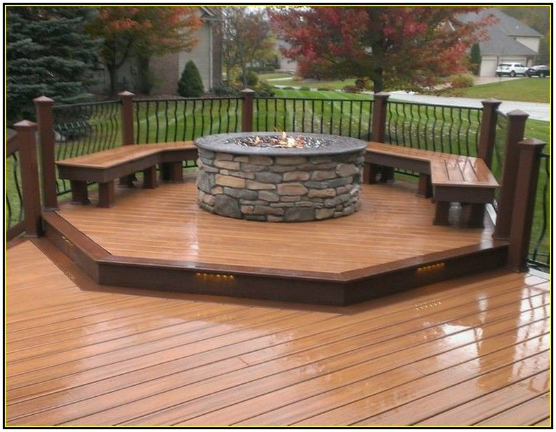 Gas Fire Pit On Wood Deck Outdoor Decking Decor Fire Pit