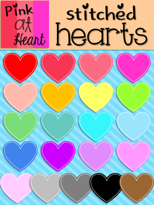 Stitched Hearts Clip Art from kac2877 from kac2877 on TeachersNotebook.com (23 pages)  - 20 png Stitched Hearts images!