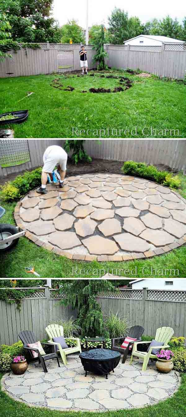 For Rustic Charm Lay A Foundation Of Scattered Limestone Pavers And Place An Old Copper Fire Pit In The Center Backyard Easy Landscaping Backyard Landscaping