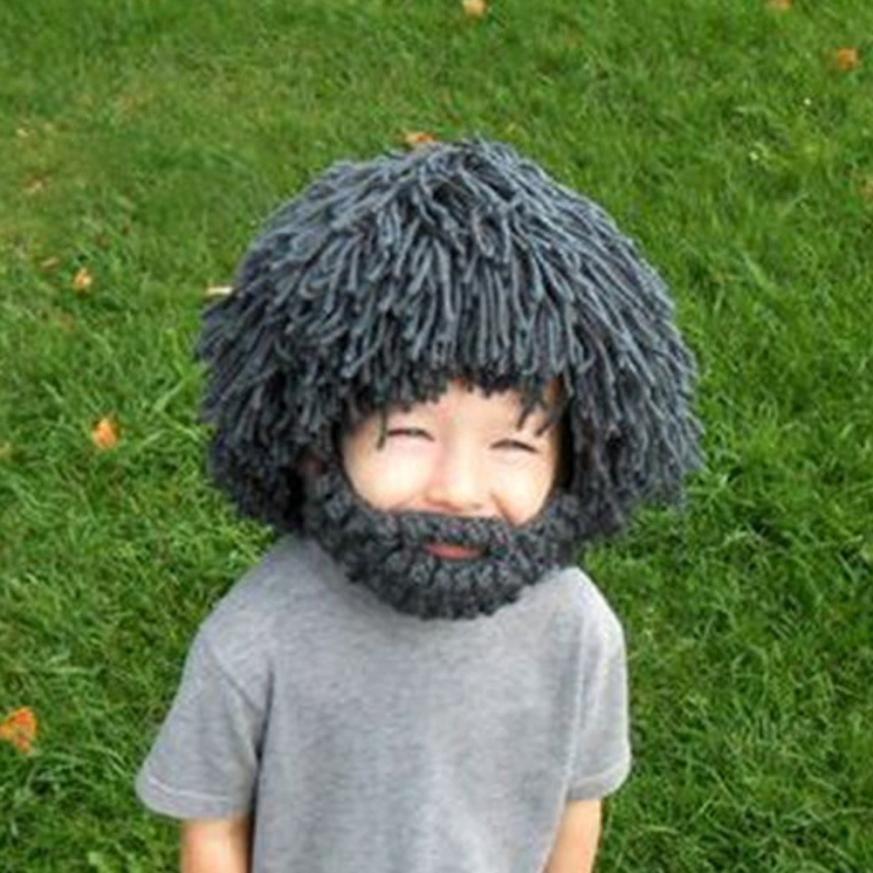 f3d0845f16d Aliexpress.com   Buy Beard Wig Hats Hobo Mad Scientist Rasta Caveman  Handmade Knit Warm