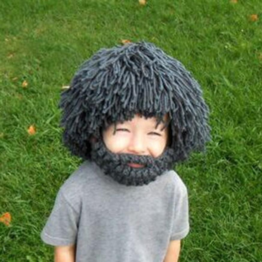 10610d1ff79 Aliexpress.com   Buy Beard Wig Hats Hobo Mad Scientist Rasta Caveman  Handmade Knit Warm