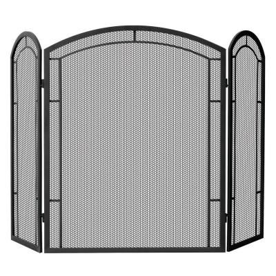 Uniflame Black Wrought Iron 48 In W 3 Panel Fireplace Screen With