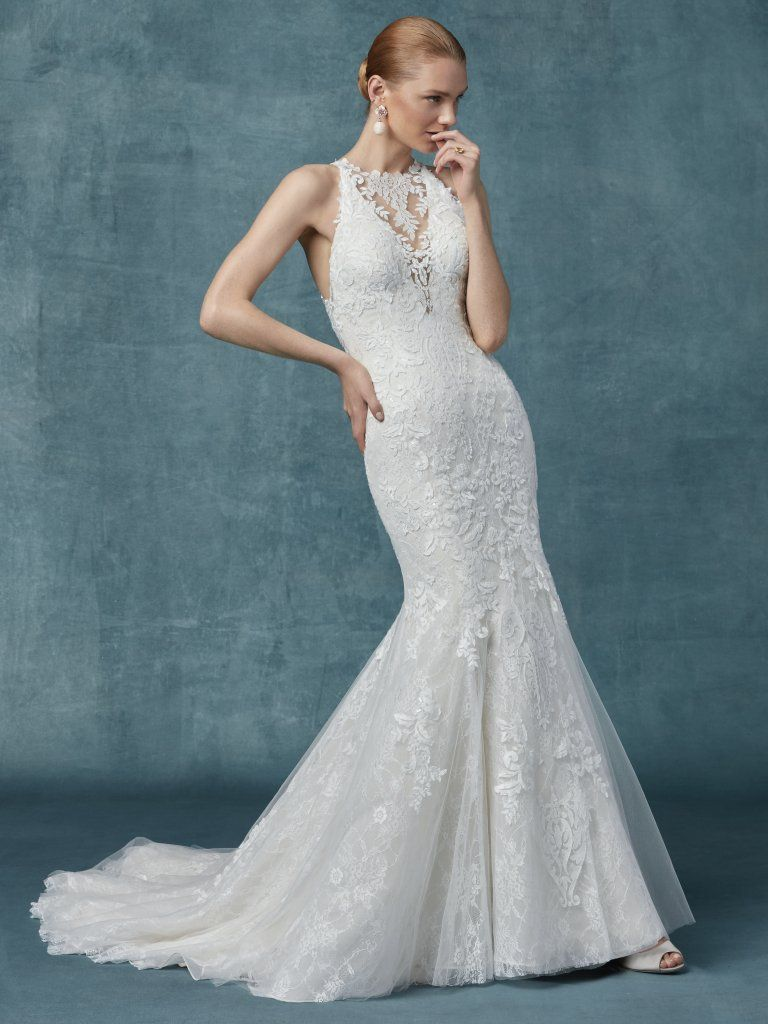 Liberty By Maggie Sottero Wedding Dresses Fit And Flare Wedding Dress Wedding Dresses Kleinfeld Wedding Dress Necklines