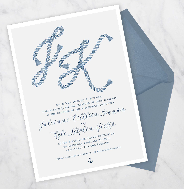 The Prep - Nautical wedding invitation with rope monogram, wedding ...