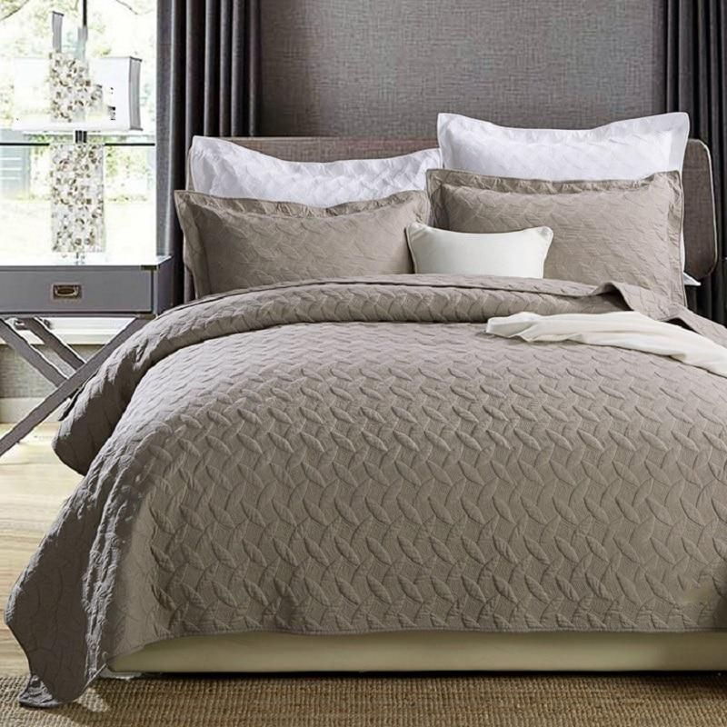 Khaki Solid Color Quilt Set 3pcs Washed Cotton Soft Bed Cover Sheets Quilted Bedspread King Size Shams Coverlet Set Bed Spreads Coverlet Bedding Quilt Sets