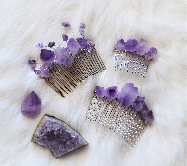 Wedding hair accessory Wedding hair comb Bridal hair jewelry natural stone Bridal hair piece Purple Agate jewelry wedding Purple hair comb