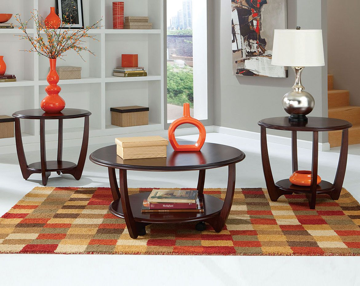 - Round, Cherry, Coffee And End Tables Seattle Three Piece Table
