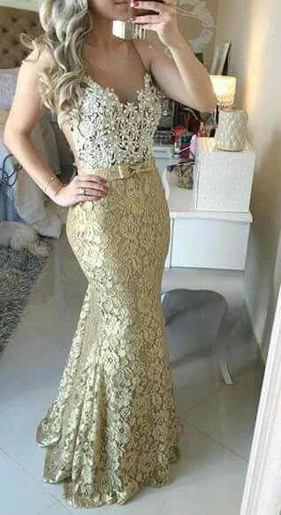 Mermaid dress in white and gold metallic lace material with V-neck ...