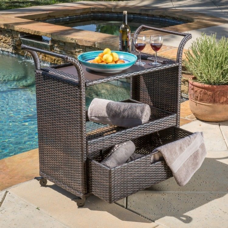 Bar Serving Cart Wicker Outdoor Patio Rolling Moving Table Trolley Rattan  Deck