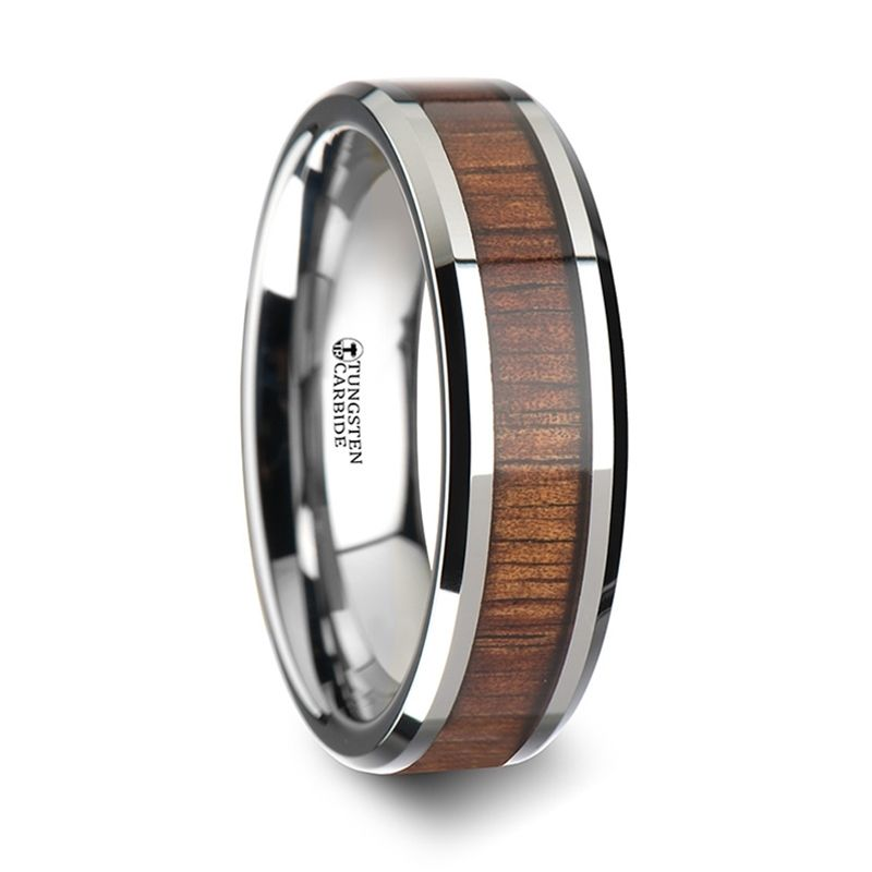 Koa Wood Inlaid Tungsten Carbide Ring With Bevels Wood Inlay