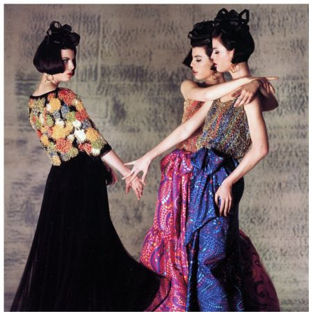 The Dee Triplets (Megan, Christina and Katha) in skirts and beaded tops by Lanvin-Castillo at the Paris Collections, photo by Norman Parkinson, 1964