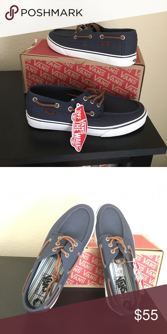 0f766365c7 Vans chauffeur navy boat shoes men's surf New with box. Navy blue ...