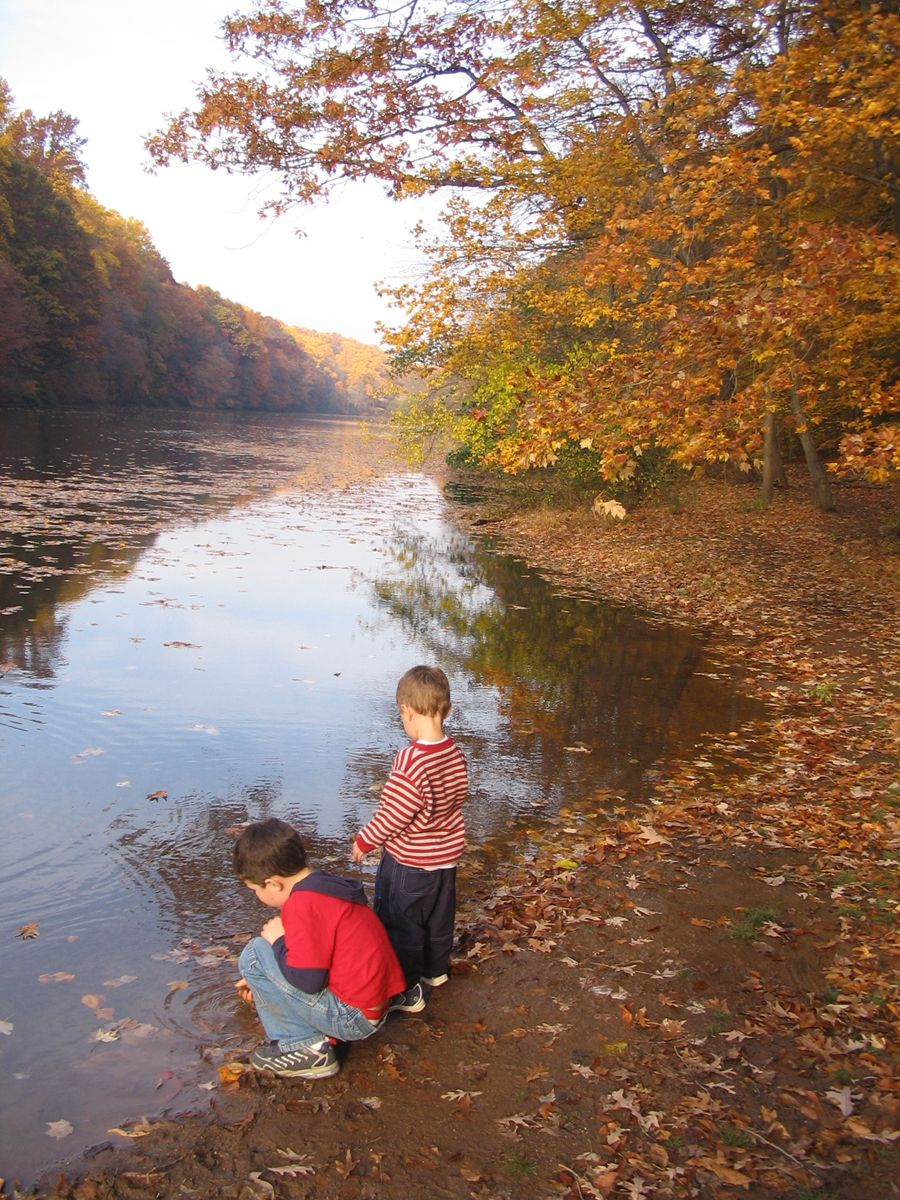 My two sons, discover a few water sprites on a Fall day at