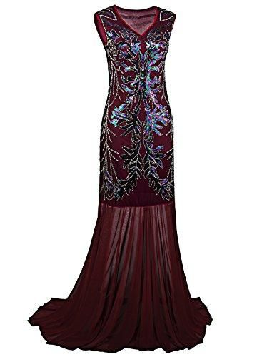 c841c0f0a8a3f 1920s Long Prom Dresses V Neck Beaded Sequin Gatsby Maxi Evening Dress