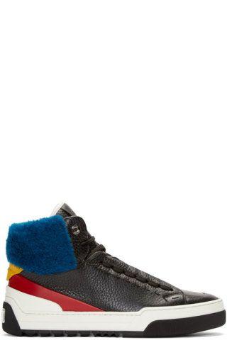 Fendi - Black & Blue Shearling High-Top Sneakers
