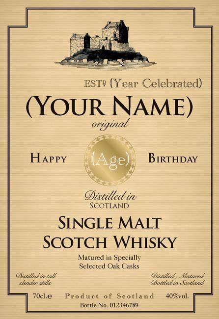 birthday whiskey bottle label dad s 50th birthday pinterest