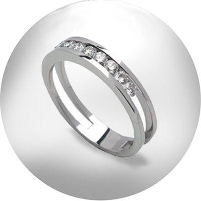 PROMOCIÓN: 10 anillos de compromiso por 399 €. anillo de oro blanco con diamantes en talla brillante montados en carril.