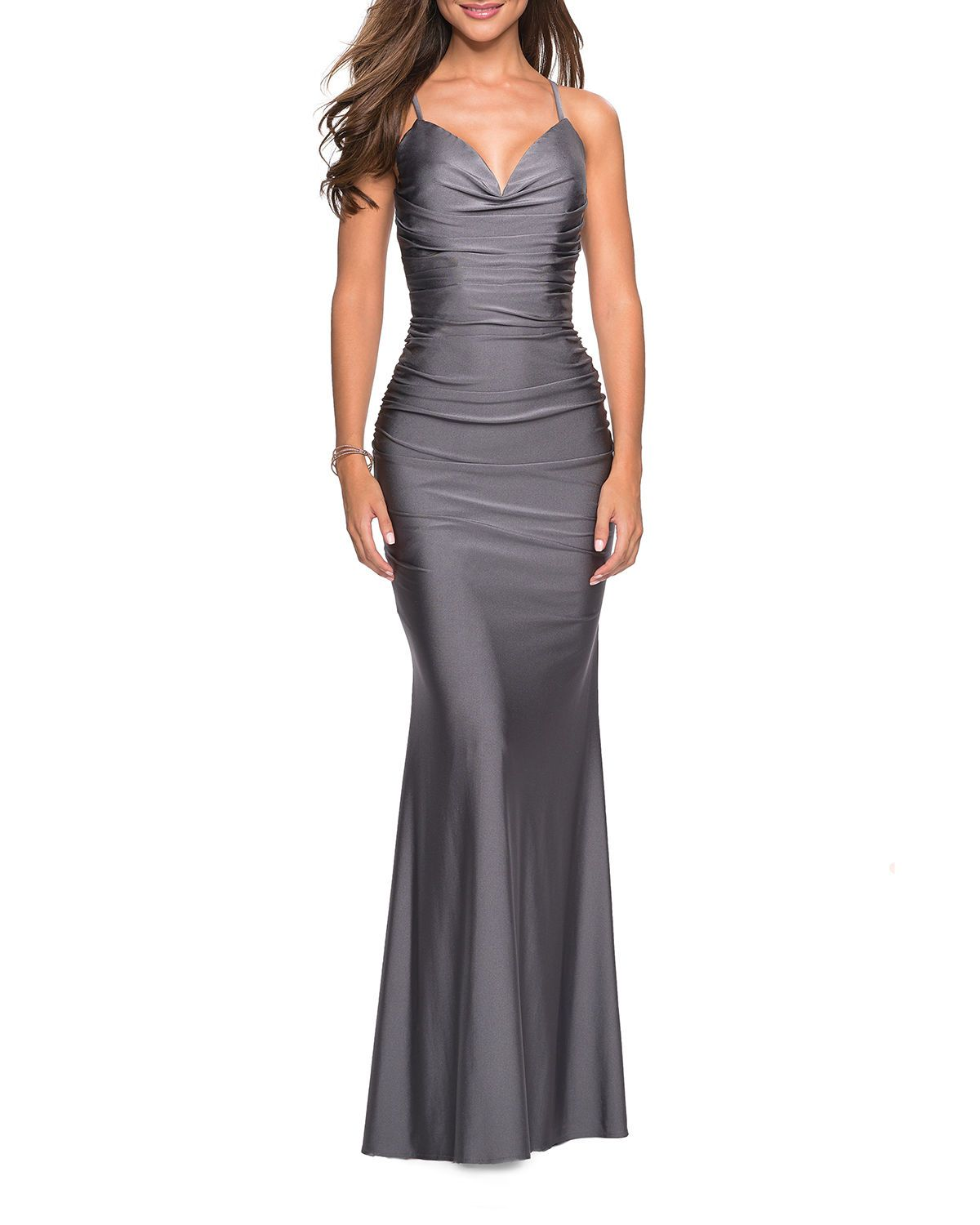 La Femme Sweetheart Sleeveless Ruched Jersey Gown with StrappyBack - Womens evening gowns, Top design fashion, Trumpet gown, Gowns dresses, La femme, Gowns - La Femme ruched jersey gown with open strappy back Approx  length 60L from shoulder to hem; 60L down center back Sweetheart neckline Sleeveless; thin straps Column silhouette Fulllength hem Slight train at back Lower back zipPolyester Spot clean Imported
