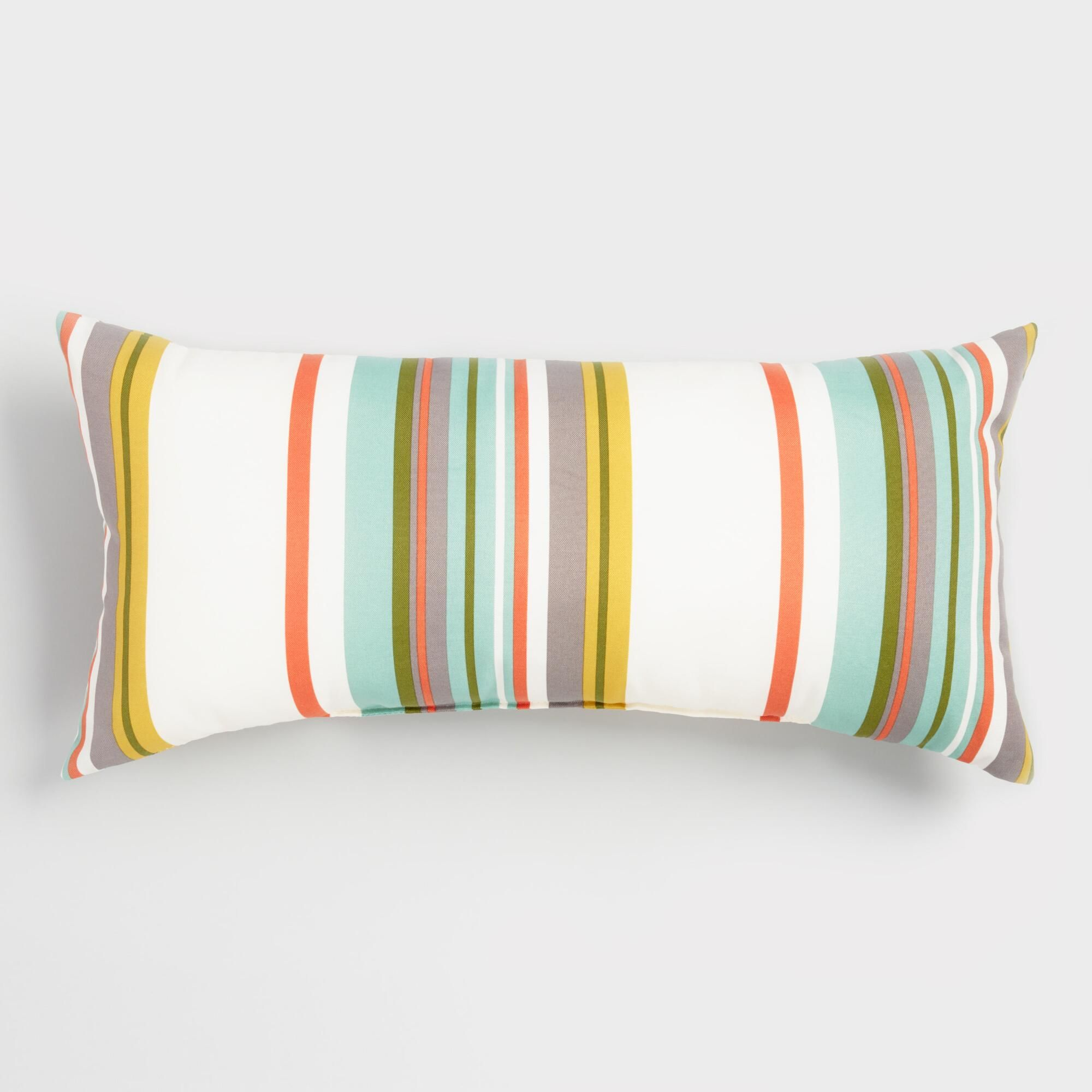 Oversized Oasis Stripe Outdoor Patio Lumbar Pillow Multi By World