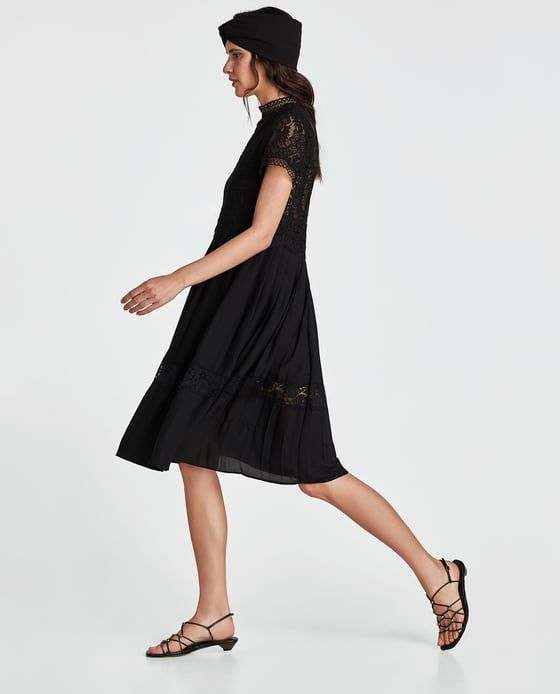 Image 5 of CONTRAST LACE DRESS from Zara | Schwarzes ...