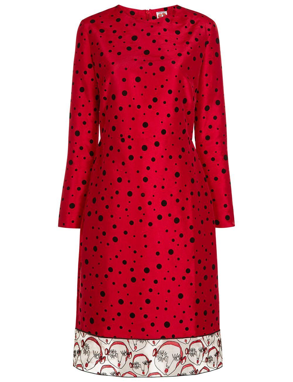 Shrimps red taffeta polka dot gisele dress shrimps cloth dress