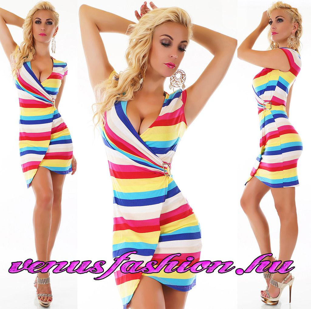 738bc48bac Divatos multicolor csíkos party ruha - Venus fashion női ruha webáruház