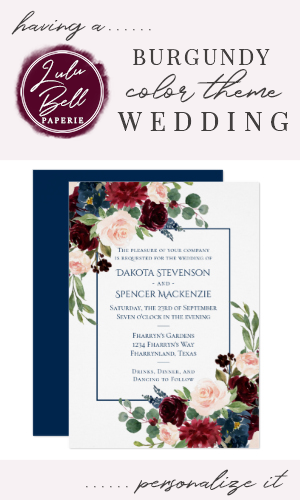 Rustic Floral Navy Blue Burgundy Red Wedding Invitation