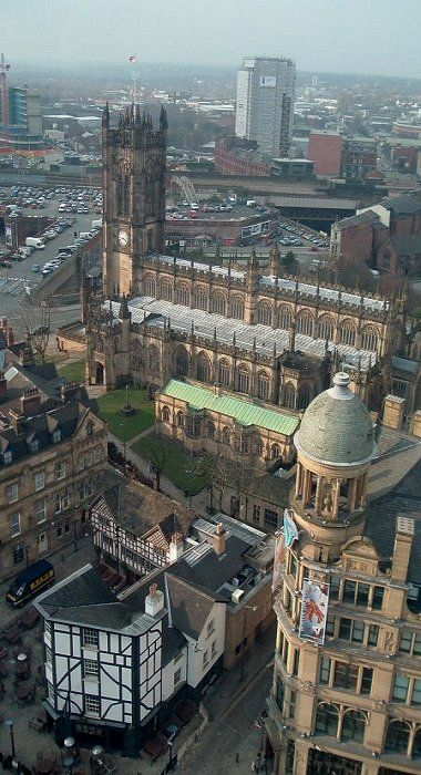 Manchester Cathedral And Shambles Square Viewed From Manchester S Observation Wheel Manchester Cathedral Manchester England England Travel