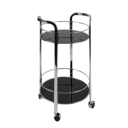 Black Chrome Rolling Bar Cart