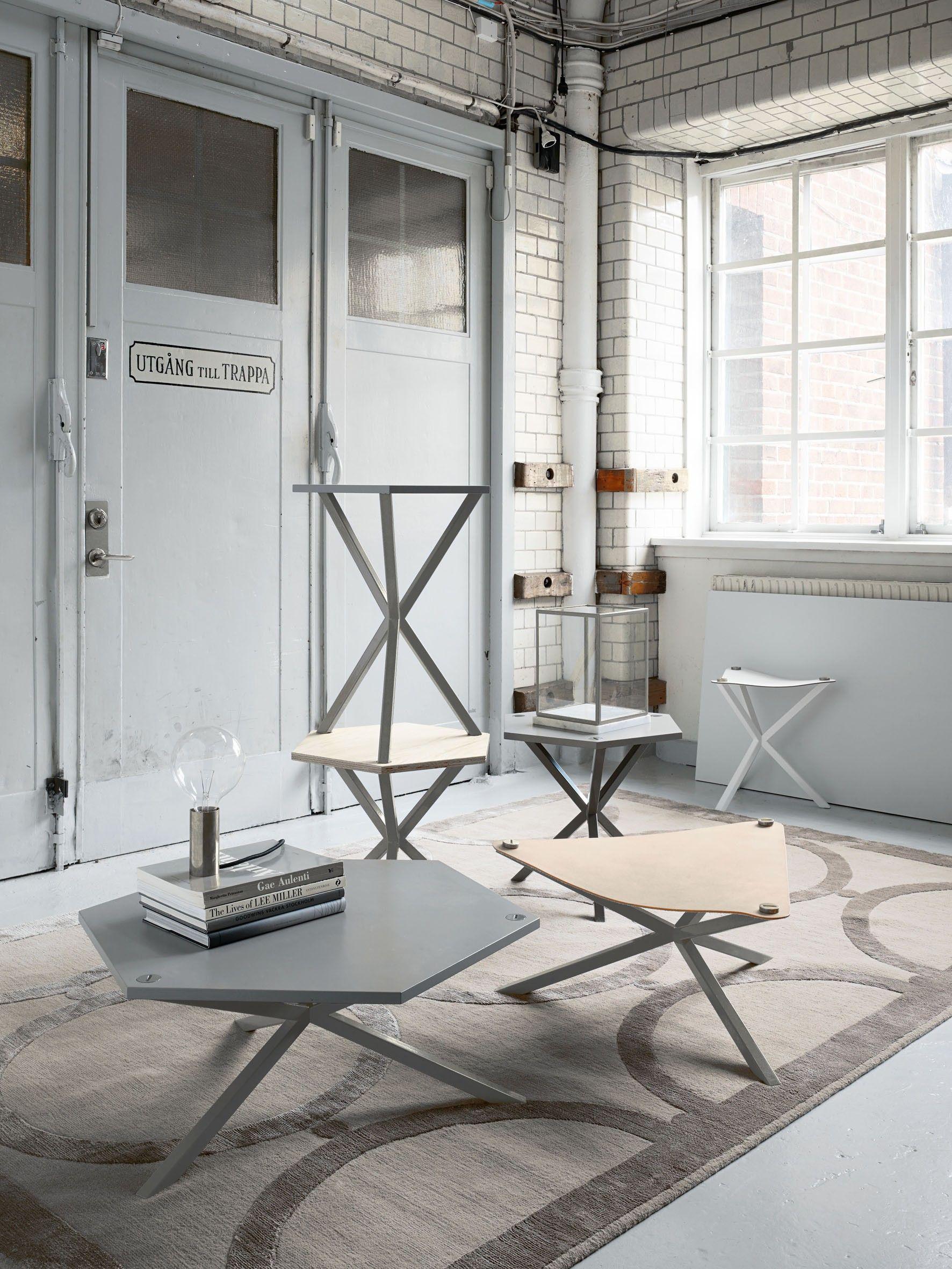 NEB Hexagonal Side Table, Brass Top