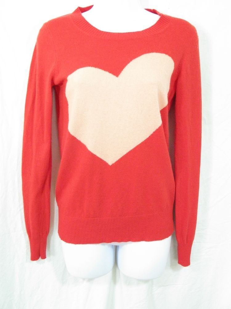 J CREW Size XS Orange/Blush Pink Merino Wool Alpaca Heart Pullover Sweater #JCrew #Crewneck