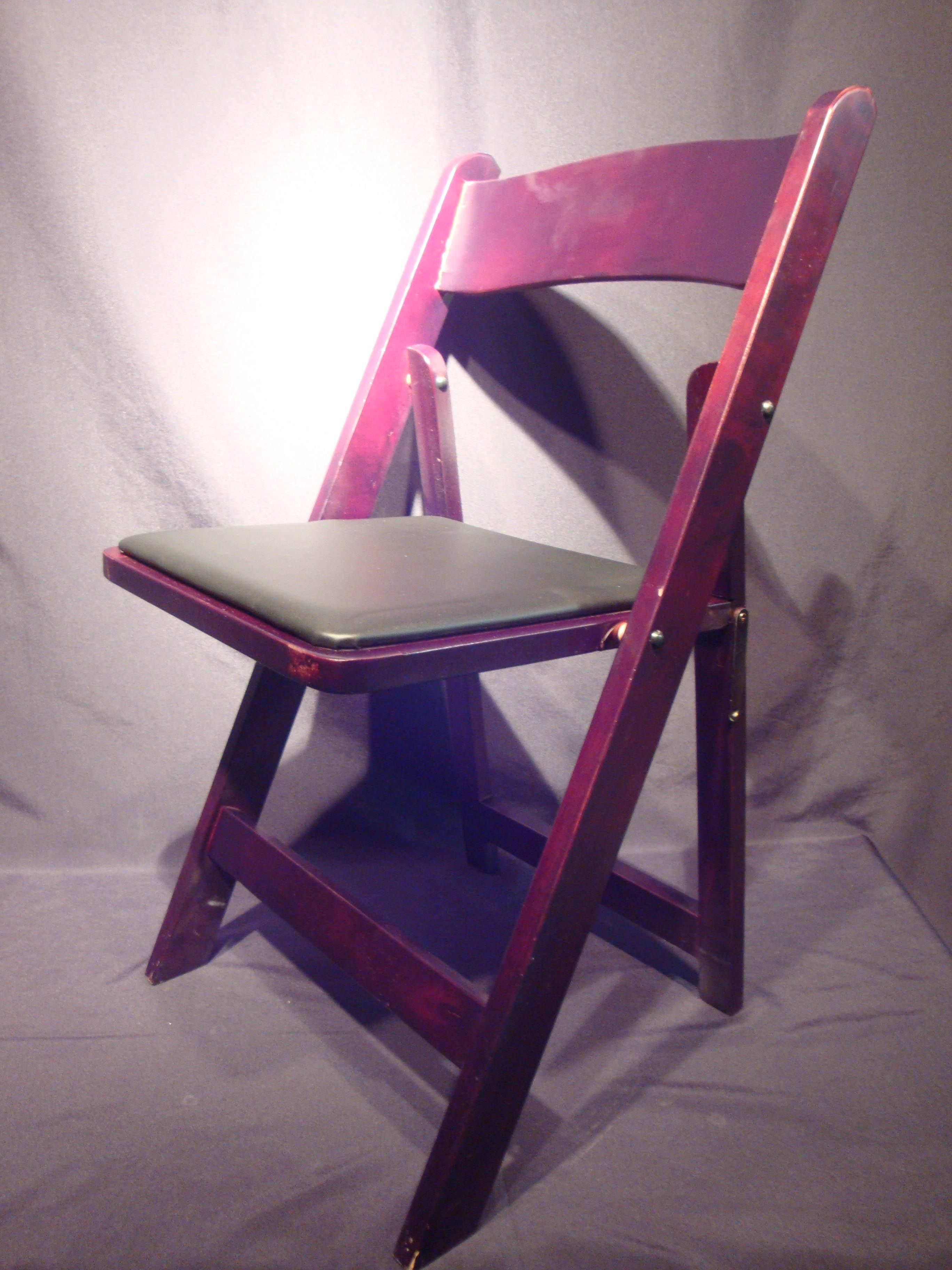 Mahogany Wood Folding Chair with black padded seat