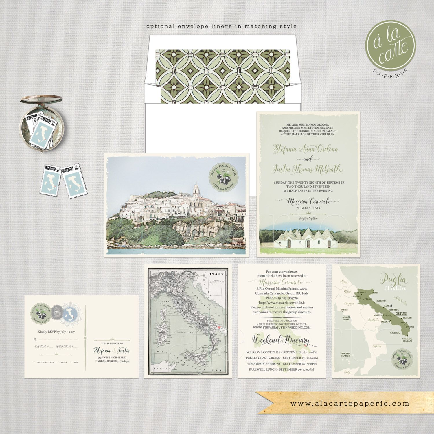 Destination wedding Italy Wedding Invitation Suite South Italian ...
