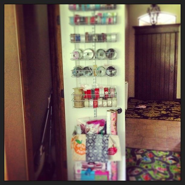 My gift wrap closet organization!  I love it!!  #containerstore, #organize