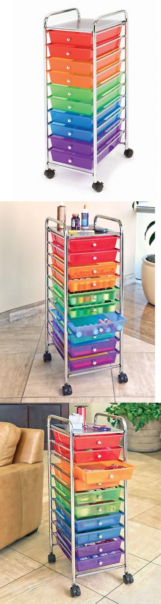 Craft Carts 146400 10 Multi Color Drawer Metal Rolling Cart