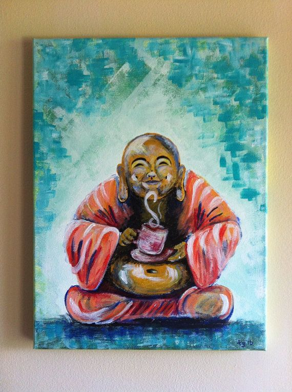 Original Buddha Acrylic Painting On 12x16 Canvas Buddha Painting Canvas Painting Creative Artwork