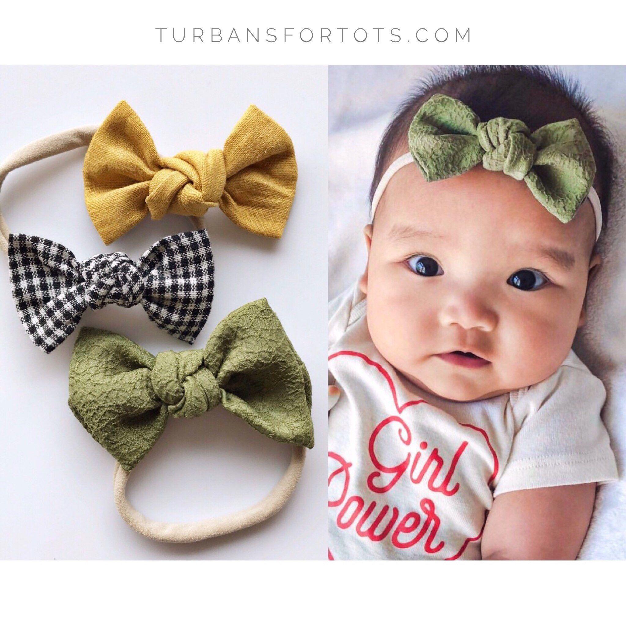 bow on headband nylon headband bow on clip Spring Picnic  Handmade bow fabric hair bow toddler hair accessories