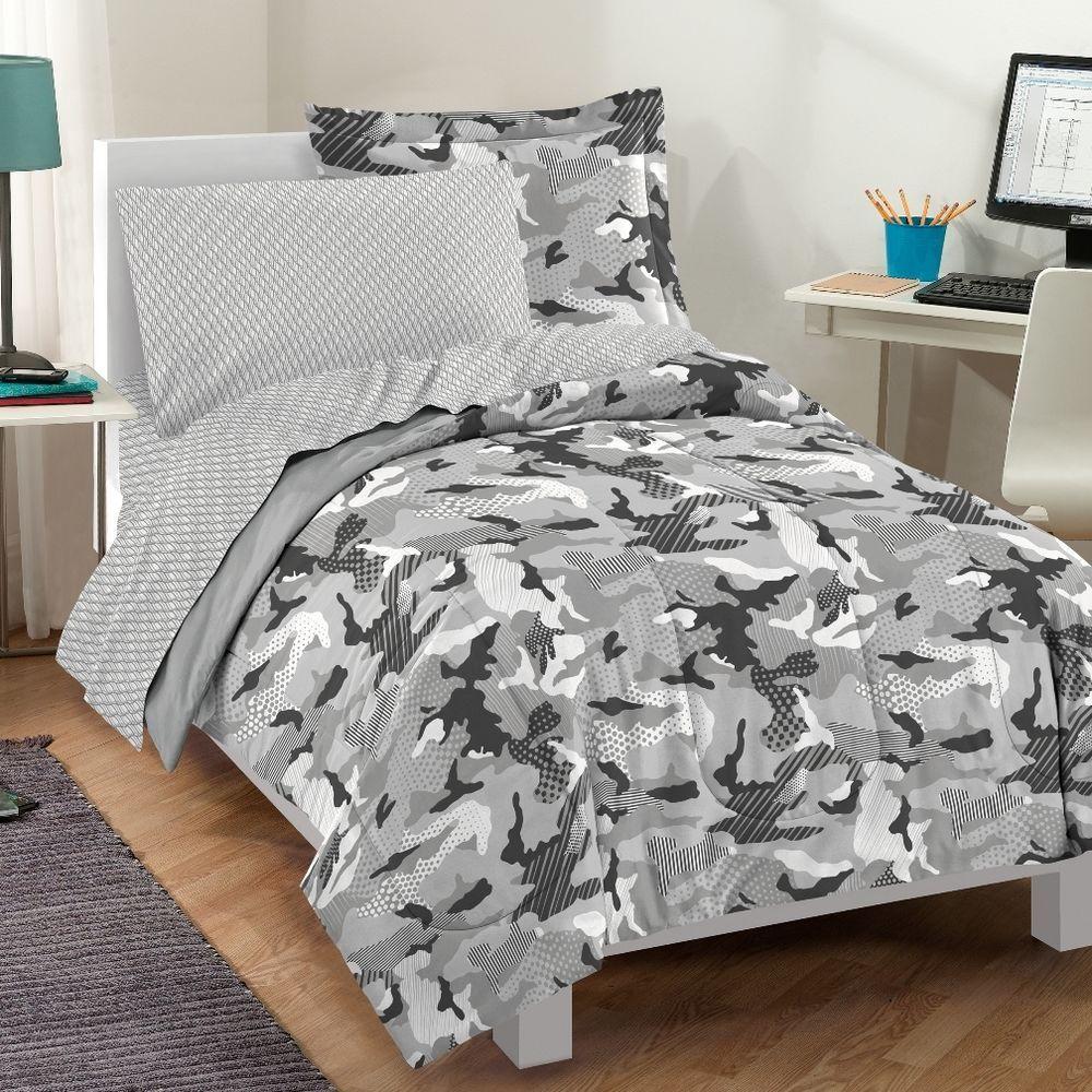 New Geo Camo Grey Camouflage Bedding Kid Comforter Sheet Set Twin Or Full Dreamfactory Bedroom Comforter Sets Comforter Sets Bed Decor