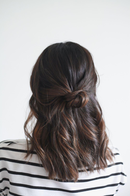 Hair Tutorial Half Up Knot In 4 Easy Steps Treasures Travels Hair Styles Cool Hairstyles Medium Hair Styles