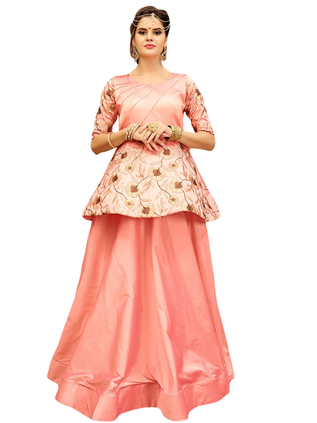 8bb4802875 Alluring carrot colour banglori silk party wear gown. Having fabric  banglori silk. This gorgeous gown is displaying some brilliant embroidery  done with ...