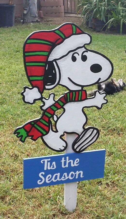 Snoopy Xmas Yard Sign Christmas Yard Art Christmas Art