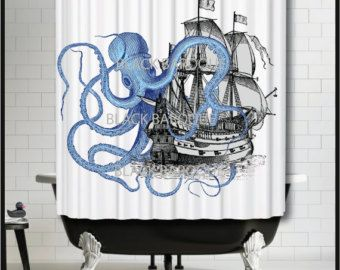 Blue Octopus Attacking Galleon Ship Shower Curtain With Images