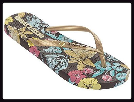 Ipanema Brasil Paraiso Flower Damen Flip Flops, Braun-Gold, Größe 38 -  Zehentrenner