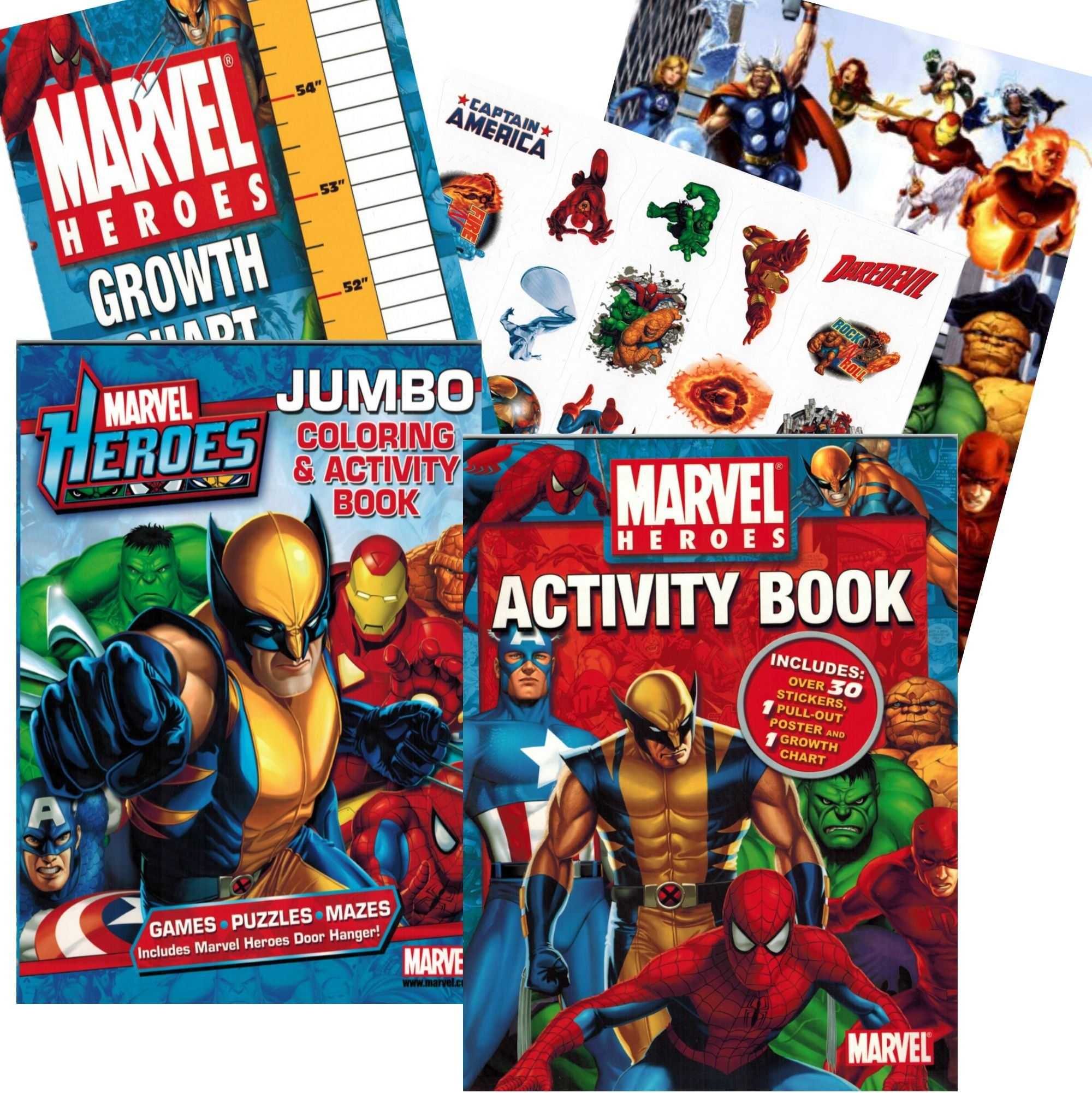 Amazon Com Marvel Heroes Coloring Book Set With Stickers Growth Chart And Poster Toys Games Coloring Book Set Marvel Coloring Hero Spiderman