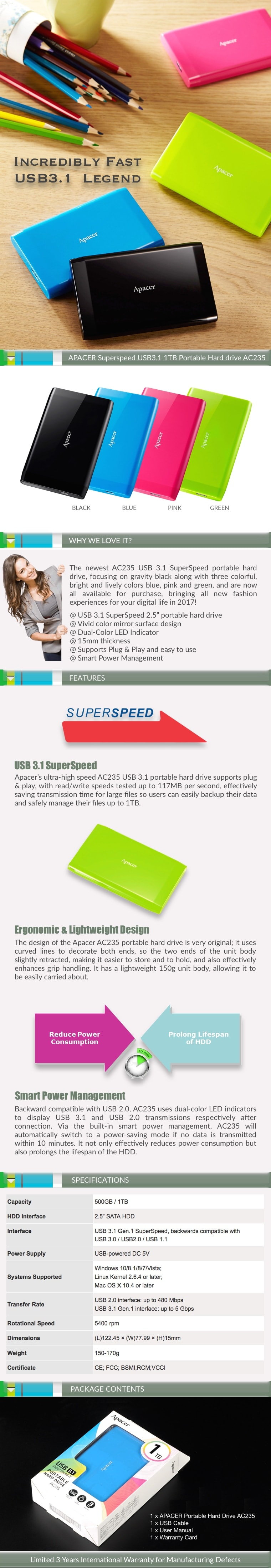 APACER Superspeed USB3.1 1TB Portable Hard Drive AC235